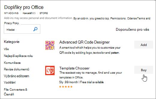 Snímek obrazovky s doplňky Office stránky, kde můžete vyberte nebo vyhledejte doplněk pro aplikaci Word.