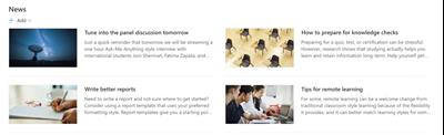 Obrázek webové části s novinkou na školicích webech
