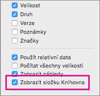 Zobrazení nastavení souborů knihovny v možnostech zobrazení vyhledávače