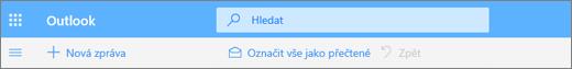 Snímek obrazovky s polem Hledat v Outlook.com