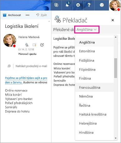 Vyberte jazyk, do kterého budou převést text zprávy v Outlook.com a Outlook na webu