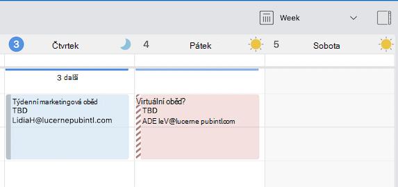 Indikátor pro události, které jsou nad nebo pod aktuálním zobrazením mřížky kalendáře