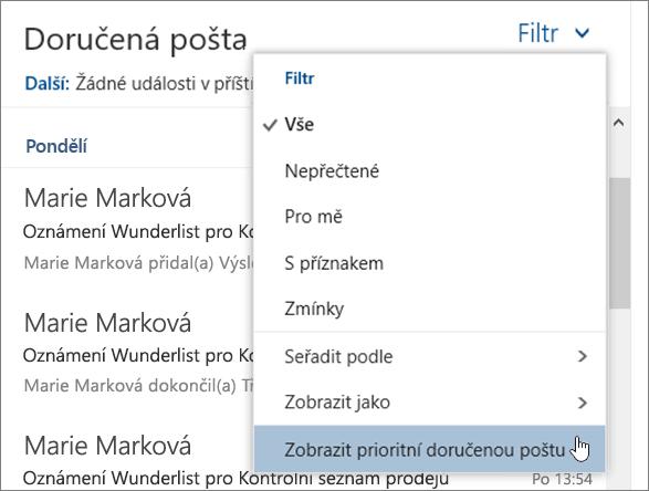 Snímek obrazovky s nabídkou filtru s zobrazit zaměření doručené pošty vybraná