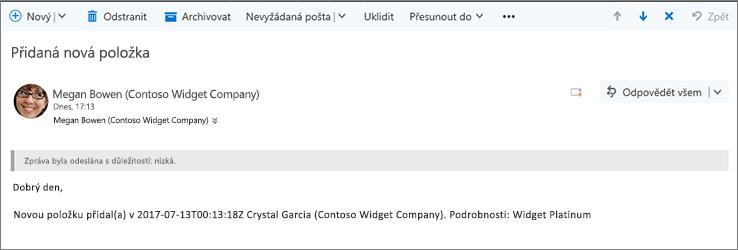 E-mailů odesílaných Microsoft Flow při změně položky