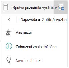 Správa možnosti výběru poznámkových bloků