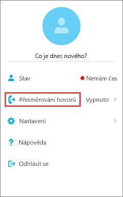 Možnost přesměrování hovorů na domovské obrazovce Skypu pro firmy pro iOS