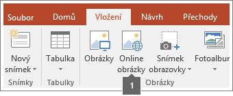 Snímek obrazovky s postupem, jak do aplikací Office přidávat online obrázky