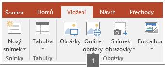 Snímek obrazovky s postupem, jak do aplikací Office přidávat online obrázky