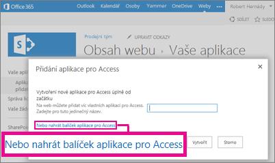 Nahrání balíčku aplikace pro Access na stránce Přidat aplikaci na sharepointovém webu
