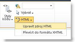 Příkaz Upravit zdroj HTML