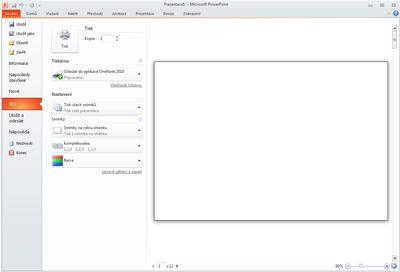 Zobrazení možnosti Tisk na kartě Soubor v aplikaci PowerPoint 2010