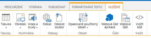Snímek obrazovky s kartou Vložení, která obsahuje tlačítka pro vkládání tabulek, videí, obrázků a odkazů na stránky vašeho webu