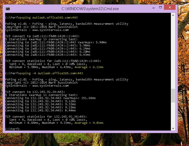 Najděte svoji IP adresu na klientském počítači pomocí příkazu PSPing na příkazovém řádku.