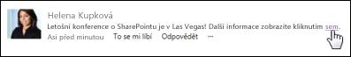 Odkaz na webovou stránku v příspěvku naformátovaný tak, aby zobrazoval text