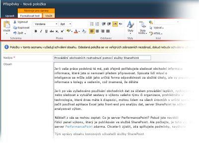 Editor formátovaného textu pro blogy