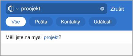 Zobrazuje hledání v Outlooku s překlepy.