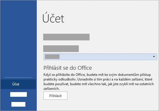 Přihlaste se pomocí pracovního nebo školního účtu Office 365 nebo účtu Microsoft.