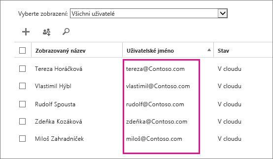 Sloupec Uživatelské jméno v Centru pro správu Office 365