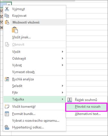Převedení formátu tabulky na oblast