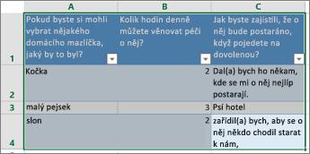Pokud chcete vytisknout přehled otázek a odpovědí, vyberte buňky obsahující odpovědi.