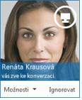 Snímek obrazovky s dialogovým oknem žádosti rychlých zpráv