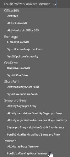 V rozevíracím seznamu Vybrat sestavu vyberte Použití zařízení aplikace Yammer.