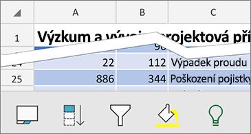 List s dostupnými kontextovými příkazy v dolní části obrazovky