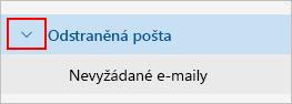 Snímek obrazovky zobrazující rozbalování složky Odstraněná pošta.