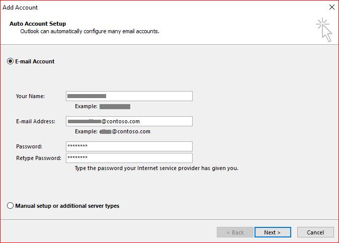 Kopie obrazovky na stránce automatické nastavení účtu