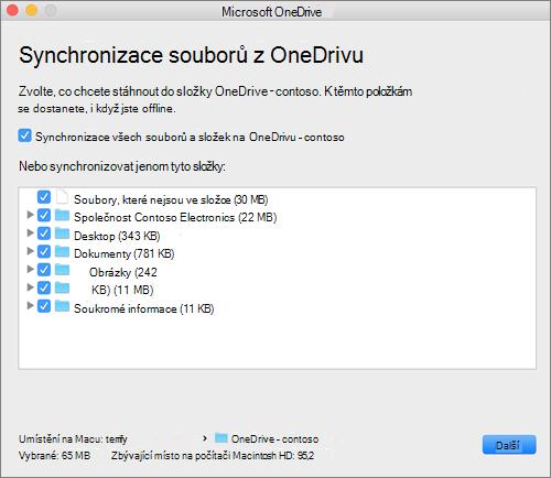 Snímek obrazovky s nabídkou nastavení OneDrivu pro výběr složek nebo souborů, které se mají synchronizovat