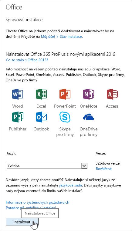 Stránka Office 365 můj software pro stahování Office 2016
