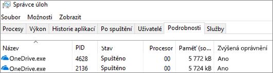 Snímek obrazovky Správce úloh zobrazující OneDrive. exe