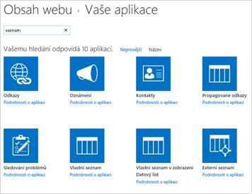 Obrázek obsahu webu na Přidat aplikaci