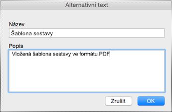 Přidání alternativního textu k vloženým souborům ve OneNotu pro Mac