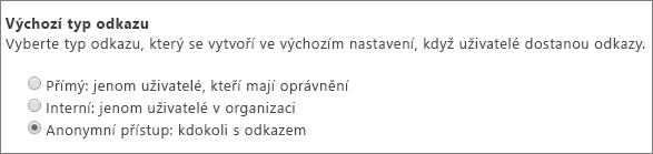 Dialogové okno výchozího typu odkazu