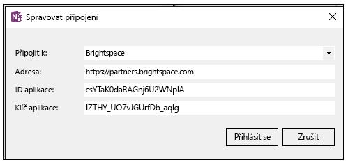 Snímek obrazovky s požadavkem na klíč aplikace v dialogu Spravovat připojení