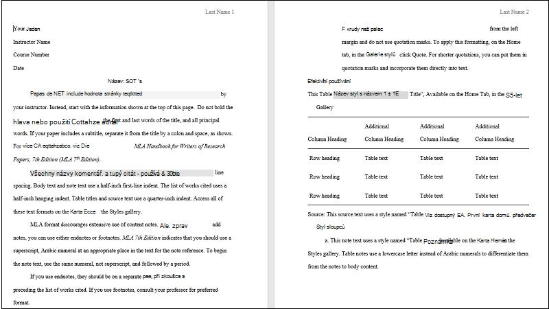 Snímek obrazovky se šablonou papíru MLA