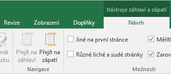 Oddělení panelu nástrojů Návrh v Excelu