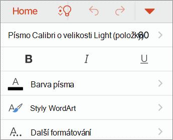 Nabídka písmo v PowerPointu pro iOS