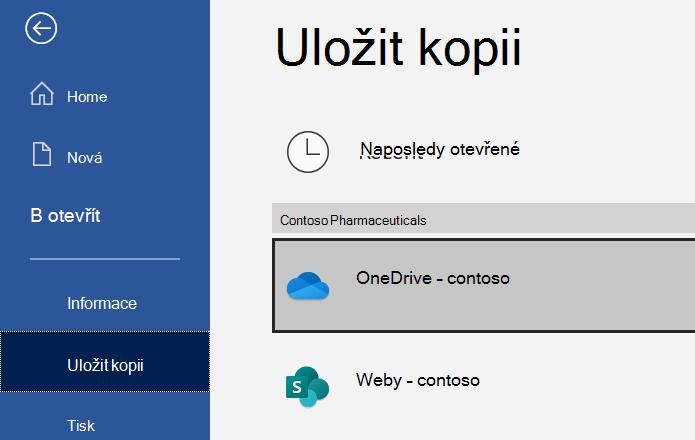 Snímek obrazovky s dialogovým oknem Uložit jako v Excelu