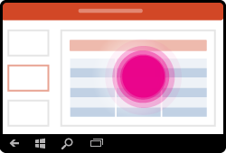 Gesto zvolení tabulky v PowerPointu pro Windows Mobile