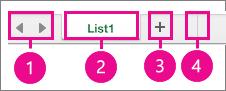 Levý dolní roh stránky s ovládacími prvky listu