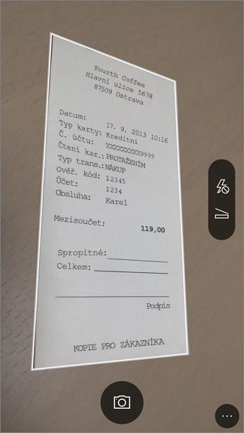 Obrázek postupu při pořizování snímku v Office Lensu
