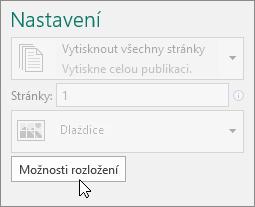 Možnosti rozložení v nastavení tiskárny aplikace Publisher.