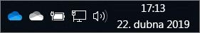 Synchronizační klient OneDrivu s ikonami s modrým a bílým mráčkem