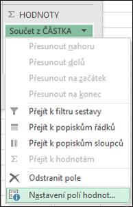 Dialogové okno Nastavení polí hodnot v Excelu