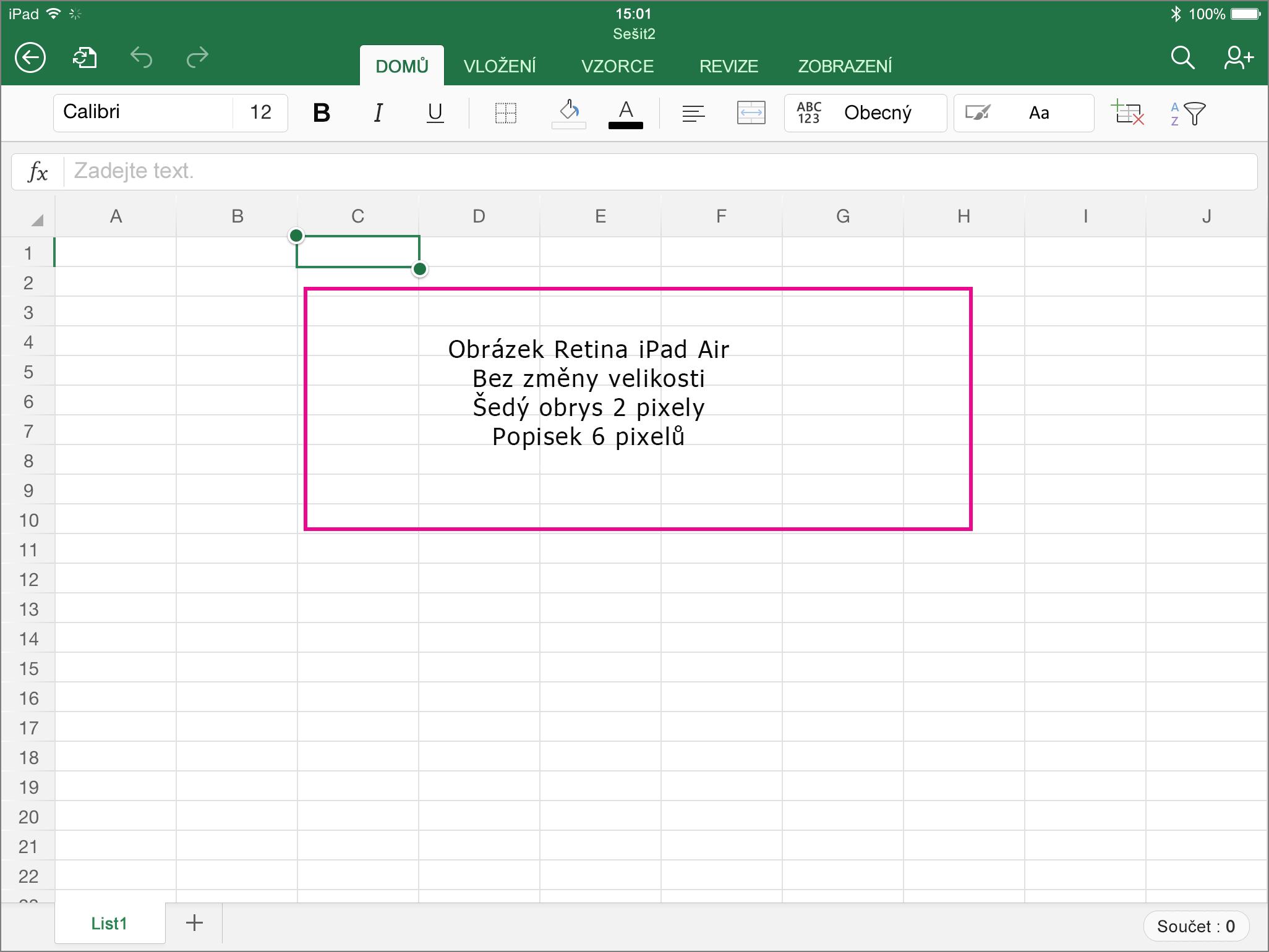 iPad – testovací obrázek s popisky NA ŠÍŘKU