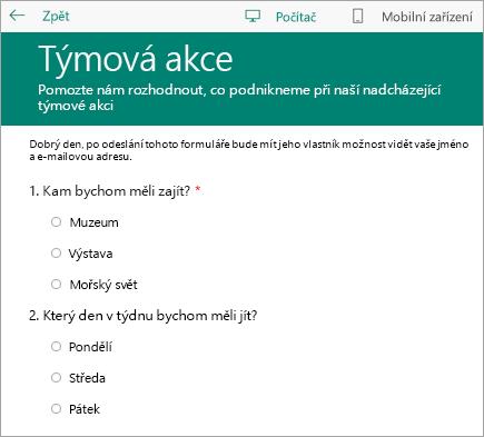 Formulář třídního průzkumu v režimu náhledu pro počítače