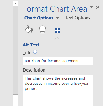 Snímek obrazovky s oblastí Alternativní text v podokně Formát oblasti grafu s popisem vybraného grafu