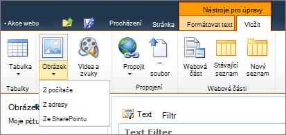 Klikněte na tlačítko obrázek na pásu karet a vyberte z počítače, adresy nebo SharePoint.